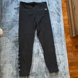 Pink 7/8 cotton mesh side leggings